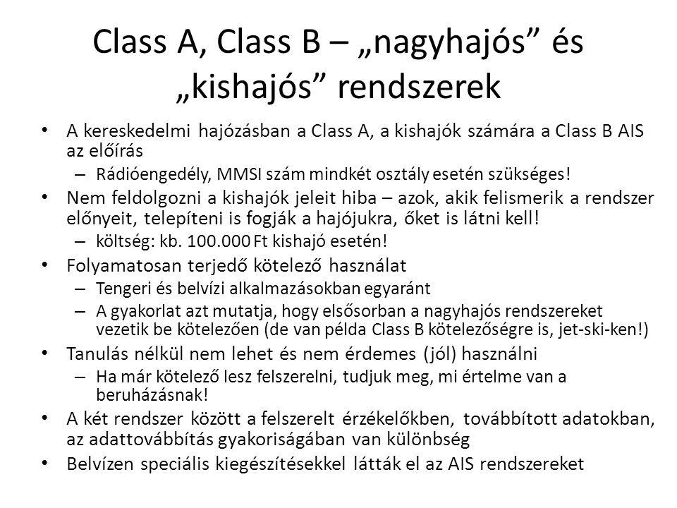Class A, Class – továbbított adatok CLASS A Dinamikus (változó) adatok Gyakoriság Lehorgonyzott, kikötött hajó3 perc 0-14 csomó10 mp 0-14 csomó, fordulásban3.3 mp 14-23 csomó6 mp 14-23 csomó, fordulásban2 mp 23 csomó felett2 mp Statikus adatok6 perc CLASS B Dinamikus (változó) adatok Gyakoriság <2 csomó3 perc >2 csomó30 mp Statikus adatok6 perc • Statikus adatok: olyan adatok, amelyek nem változnak menet közben • pl.
