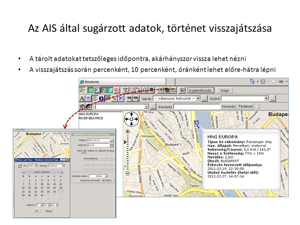 Az AIS által sugárzott adatok, történet visszajátszása • A tárolt adatokat tetszőleges időpontra, akárhányszor vissza lehet nézni • A visszajátszás so