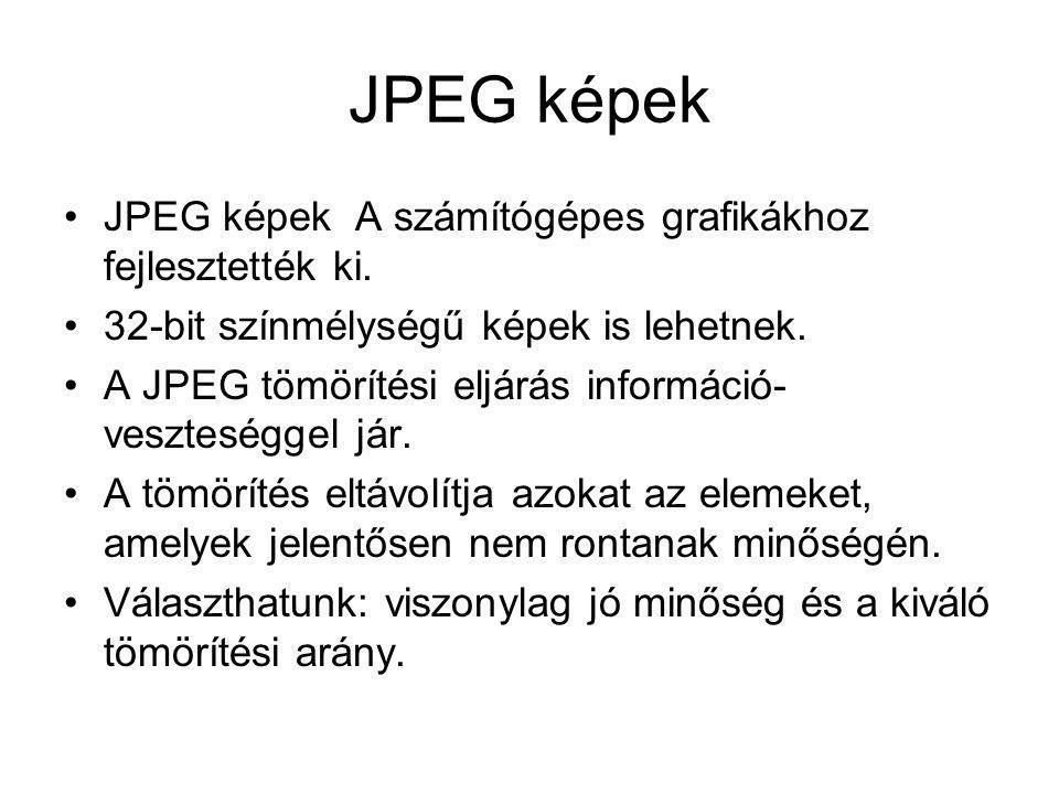 JPEG képek •JPEG képek A számítógépes grafikákhoz fejlesztették ki. •32-bit színmélységű képek is lehetnek. •A JPEG tömörítési eljárás információ- ves