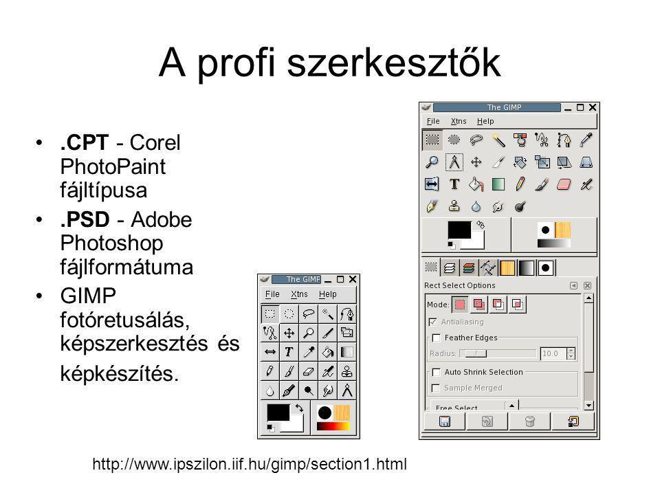 A profi szerkesztők •.CPT - Corel PhotoPaint fájltípusa •.PSD - Adobe Photoshop fájlformátuma •GIMP fotóretusálás, képszerkesztés és képkészítés. http