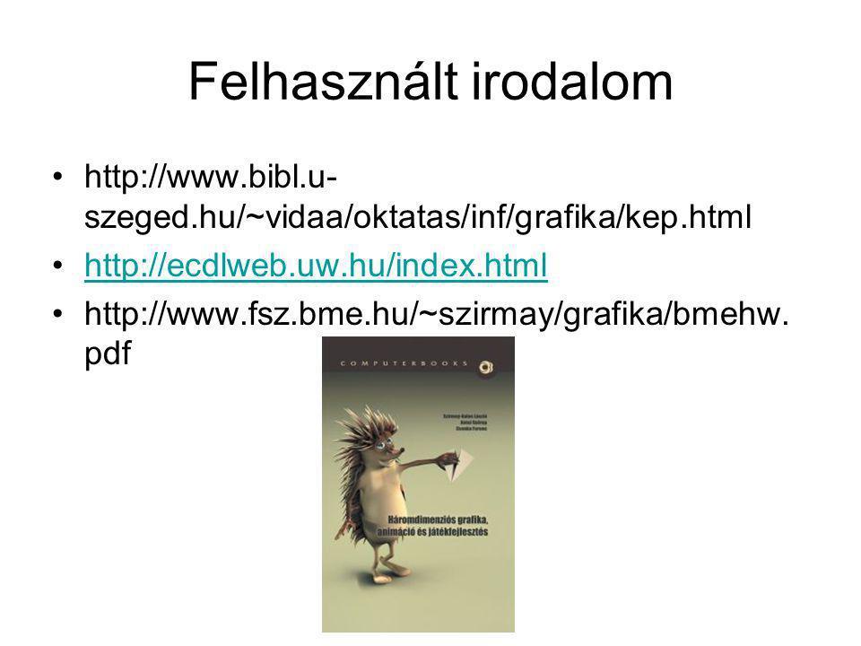 Felhasznált irodalom •http://www.bibl.u- szeged.hu/~vidaa/oktatas/inf/grafika/kep.html •http://ecdlweb.uw.hu/index.htmlhttp://ecdlweb.uw.hu/index.html