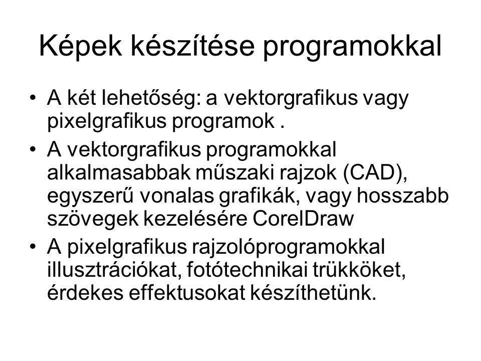 Képek készítése programokkal •A két lehetőség: a vektorgrafikus vagy pixelgrafikus programok. •A vektorgrafikus programokkal alkalmasabbak műszaki raj
