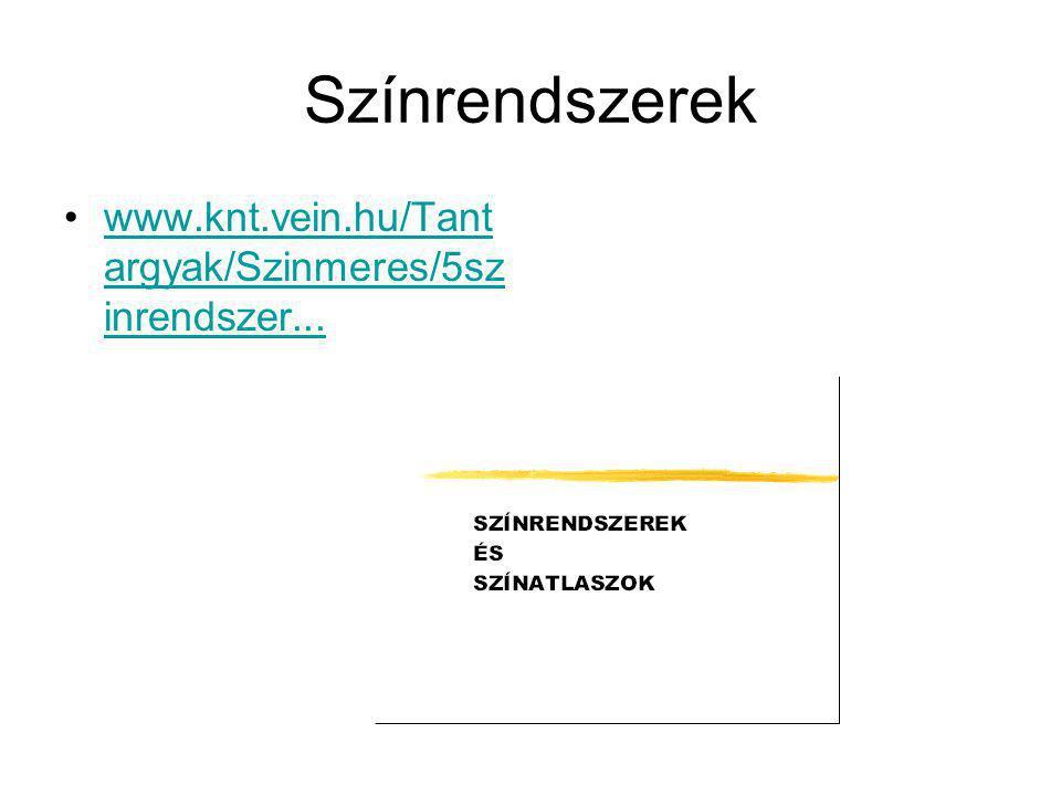 Színrendszerek •www.knt.vein.hu/Tant argyak/Szinmeres/5sz inrendszer...www.knt.vein.hu/Tant argyak/Szinmeres/5sz inrendszer...