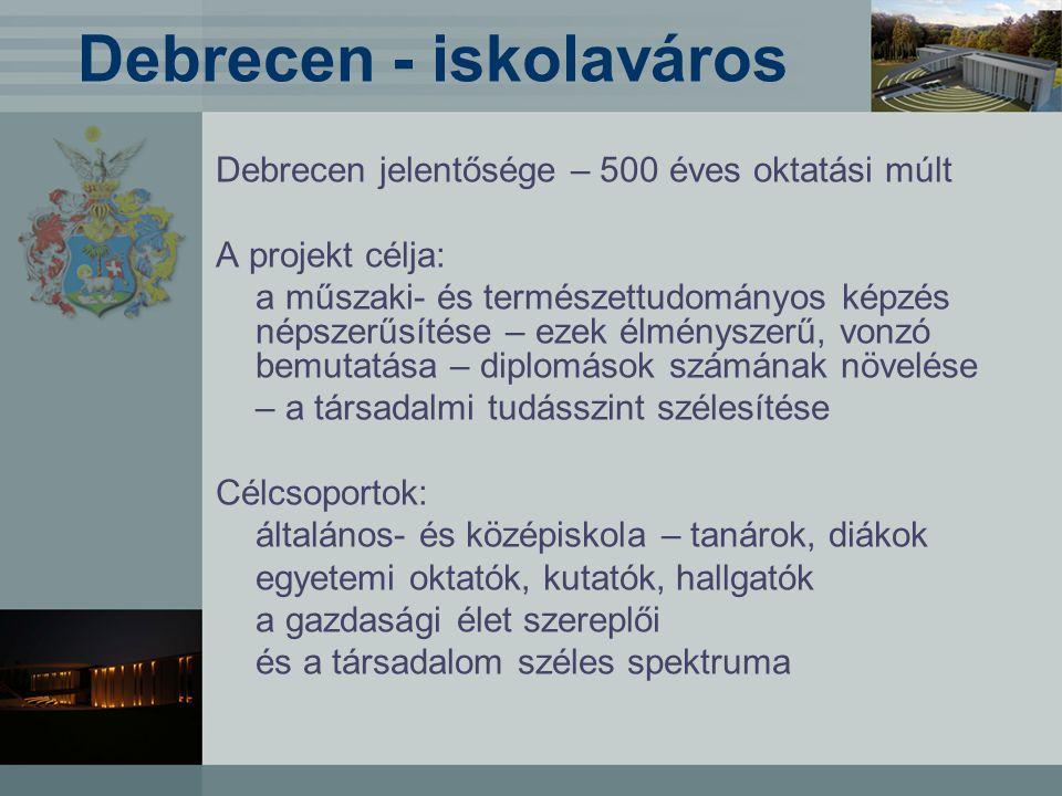 Debrecen - iskolaváros Debrecen jelentősége – 500 éves oktatási múlt A projekt célja: a műszaki- és természettudományos képzés népszerűsítése – ezek élményszerű, vonzó bemutatása – diplomások számának növelése – a társadalmi tudásszint szélesítése Célcsoportok: általános- és középiskola – tanárok, diákok egyetemi oktatók, kutatók, hallgatók a gazdasági élet szereplői és a társadalom széles spektruma