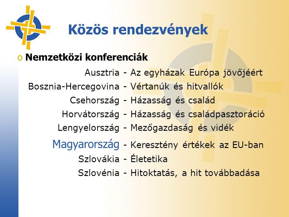 Közös rendezvények o Nemzetközi konferenciák Ausztria- Az egyházak Európa jövőjéért Bosznia-Hercegovina- Vértanúk és hitvallók Csehország- Házasság és család Horvátország- Házasság és családpasztoráció Lengyelország- Mezőgazdaság és vidék Magyarország - Keresztény értékek az EU-ban Szlovákia- Életetika Szlovénia- Hitoktatás, a hit továbbadása