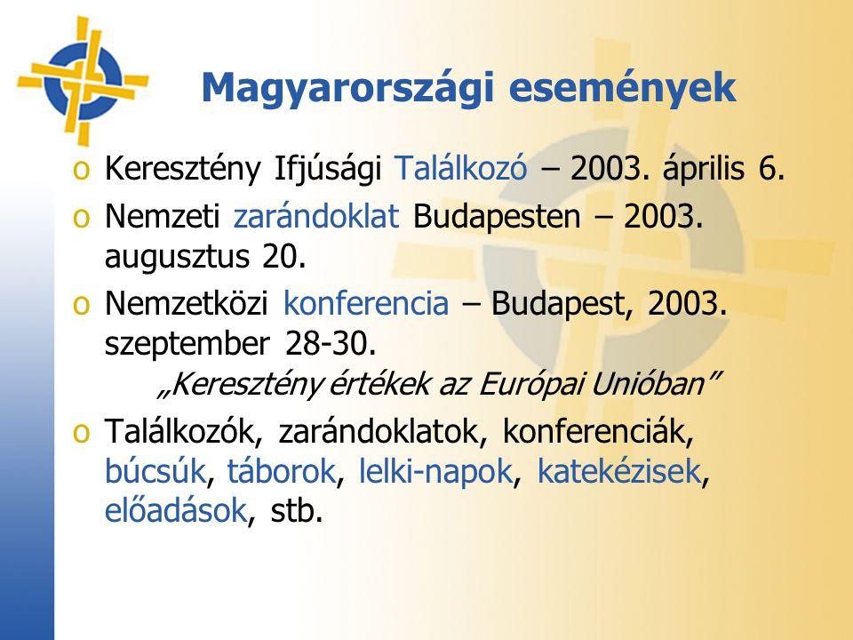 oKeresztény Ifjúsági Találkozó – 2003. április 6. oNemzeti zarándoklat Budapesten – 2003. augusztus 20. oNemzetközi konferencia – Budapest, 2003. szep