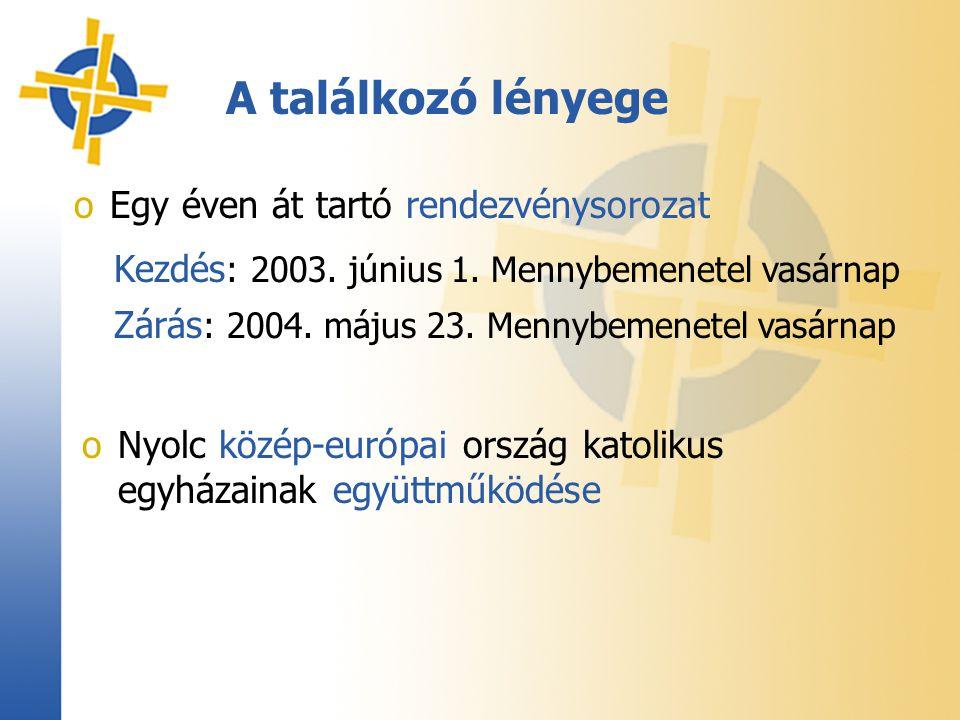 A találkozó lényege oEgy éven át tartó rendezvénysorozat Kezdés : 2003. június 1. Mennybemenetel vasárnap Zárás : 2004. május 23. Mennybemenetel vasár
