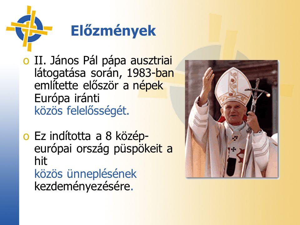 oII. János Pál pápa ausztriai látogatása során, 1983-ban említette először a népek Európa iránti közös felelősségét. oEz indította a 8 közép- európai