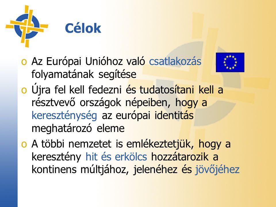 Célok oAz Európai Unióhoz való csatlakozás folyamatának segítése oÚjra fel kell fedezni és tudatosítani kell a résztvevő országok népeiben, hogy a kereszténység az európai identitás meghatározó eleme oA többi nemzetet is emlékeztetjük, hogy a keresztény hit és erkölcs hozzátarozik a kontinens múltjához, jelenéhez és jövőjéhez
