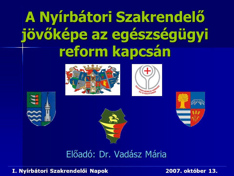 A Nyírbátori Szakrendelő jövőképe az egészségügyi reform kapcsán Előadó: Dr. Vadász Mária I. Nyírbátori Szakrendelői Napok 2007. október 13.