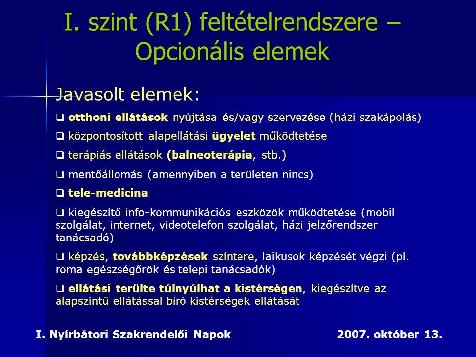 I. Nyírbátori Szakrendelői Napok 2007. október 13. I. szint (R1) feltételrendszere – Opcionális elemek Javasolt elemek:  otthoni ellátások nyújtása é