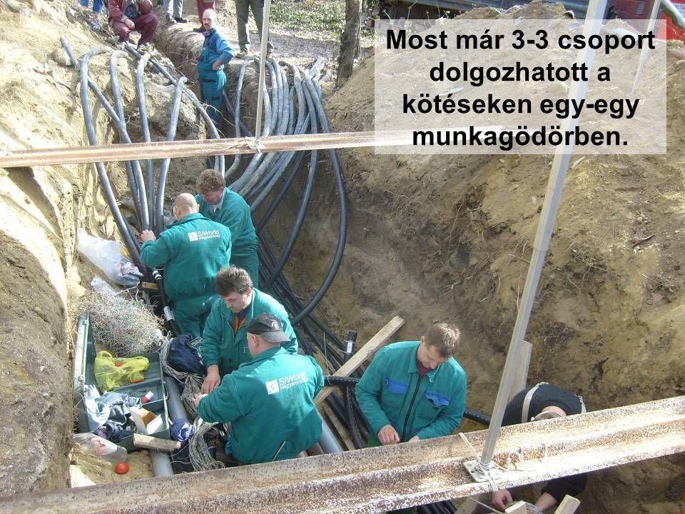 Most már 3-3 csoport dolgozhatott a kötéseken egy-egy munkagödörben.