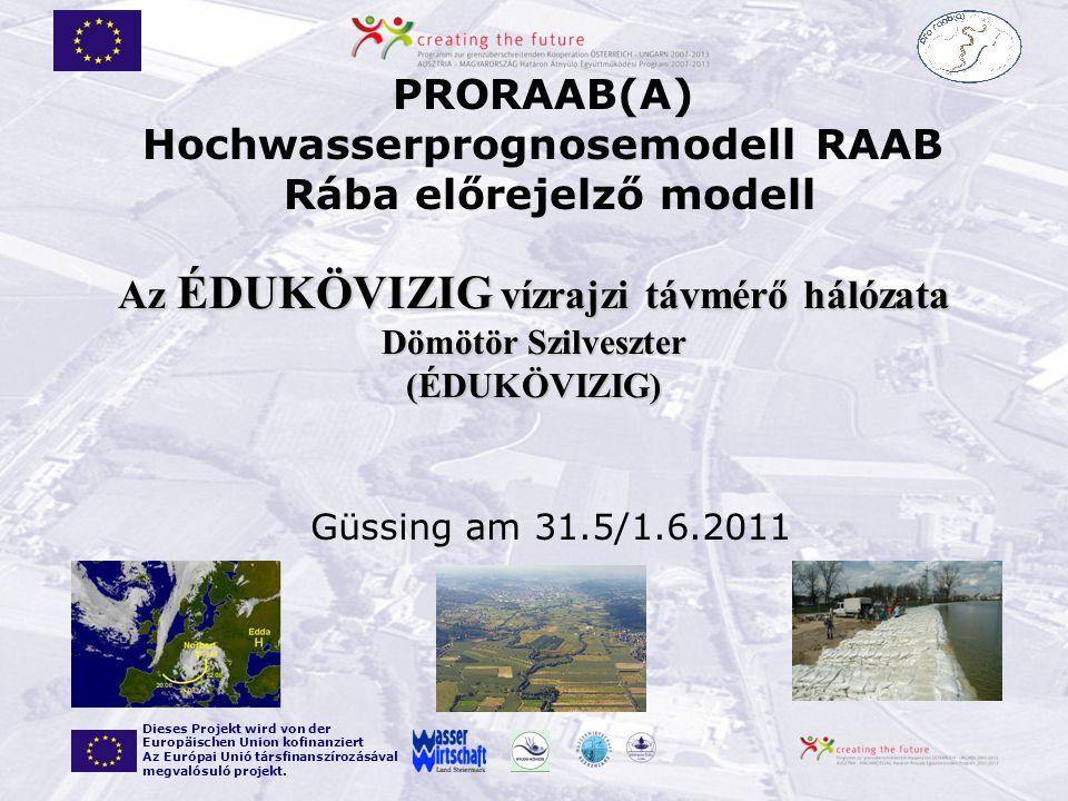 Güssing am 31.5/1.6.2011 PRORAAB(A) Hochwasserprognosemodell RAAB Rába előrejelző modell Dieses Projekt wird von der Europäischen Union kofinanziert A