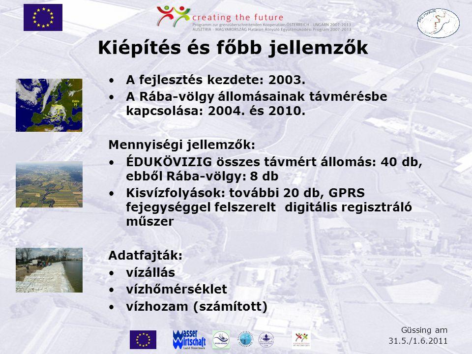 Güssing am 31.5./1.6.2011 Kiépítés és főbb jellemzők •A fejlesztés kezdete: 2003. •A Rába-völgy állomásainak távmérésbe kapcsolása: 2004. és 2010. Men
