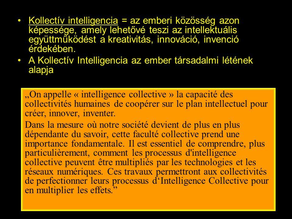 •Kollectív intelligencia = az emberi közösség azon képessége, amely lehetővé teszi az intellektuális együttműködést a kreativitás, innováció, invenció