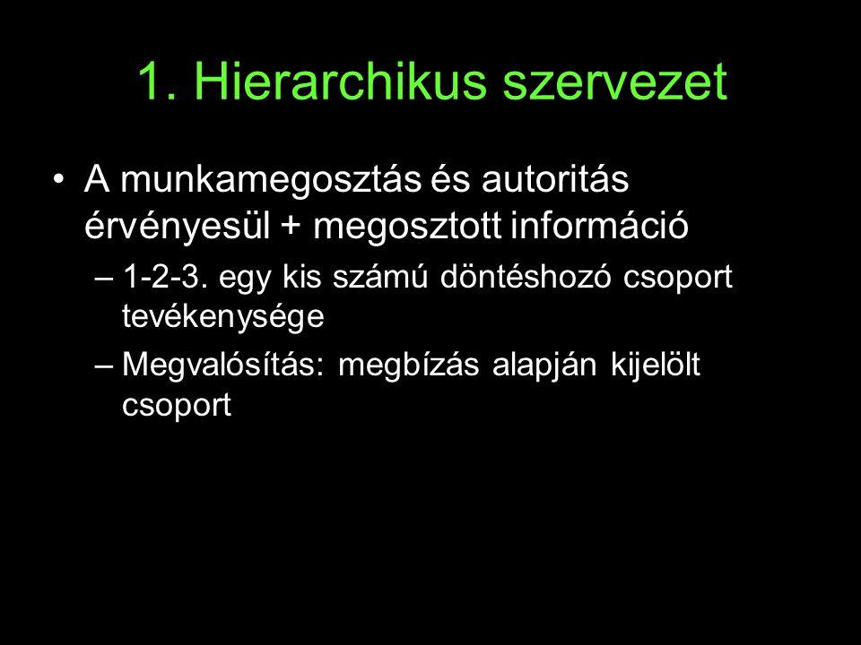 1. Hierarchikus szervezet •A munkamegosztás és autoritás érvényesül + megosztott információ –1-2-3. egy kis számú döntéshozó csoport tevékenysége –Meg