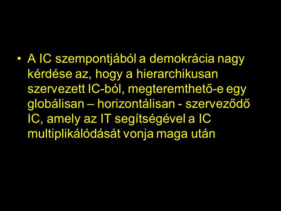 •A IC szempontjából a demokrácia nagy kérdése az, hogy a hierarchikusan szervezett IC-ból, megteremthető-e egy globálisan – horizontálisan - szerveződ