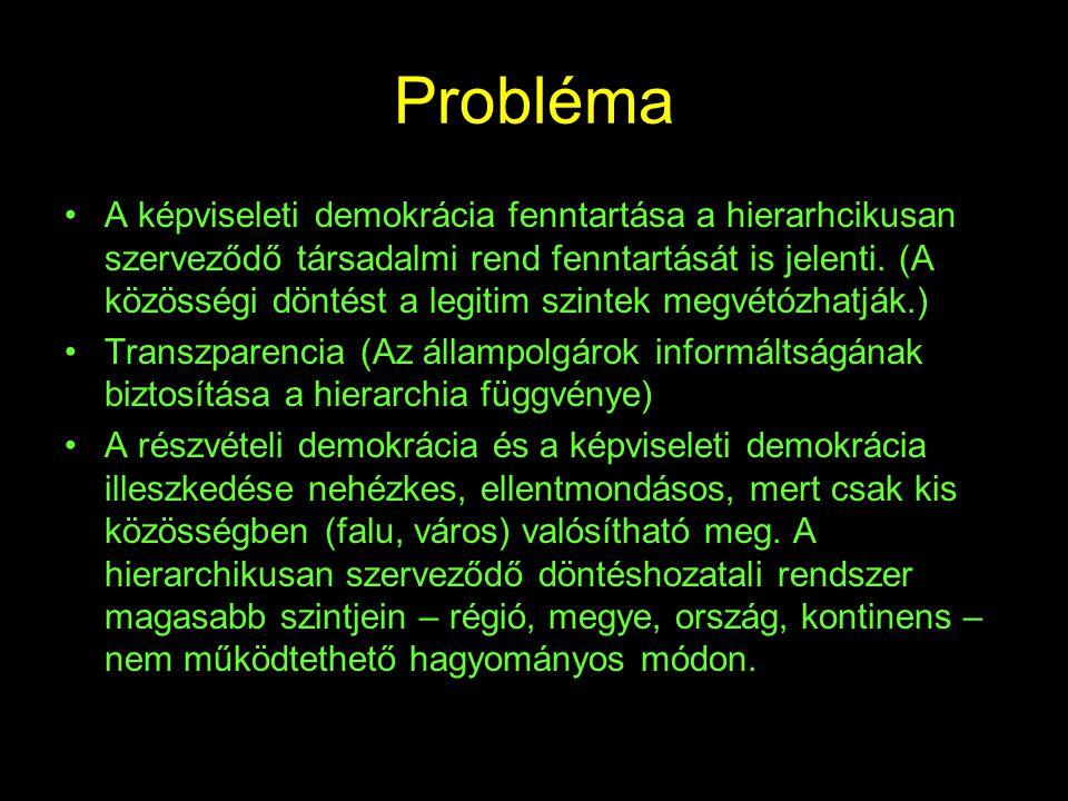 Probléma •A képviseleti demokrácia fenntartása a hierarhcikusan szerveződő társadalmi rend fenntartását is jelenti. (A közösségi döntést a legitim szi
