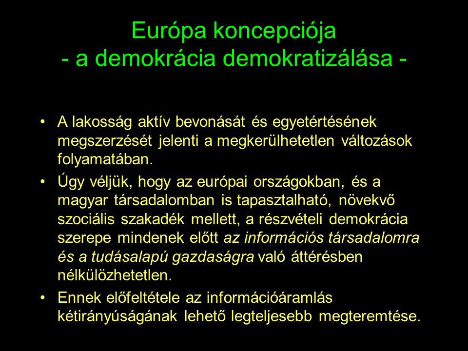 Európa koncepciója - a demokrácia demokratizálása - •A lakosság aktív bevonását és egyetértésének megszerzését jelenti a megkerülhetetlen változások f
