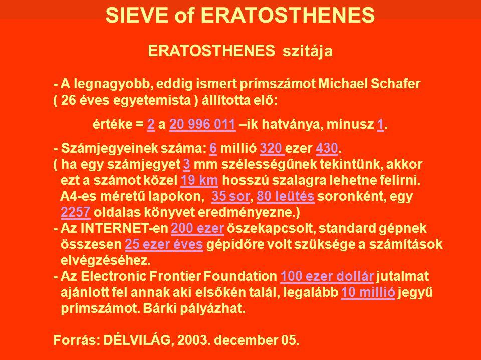 SIEVE of ERATOSTHENES ERATOSTHENES szitája - A legnagyobb, eddig ismert prímszámot Michael Schafer ( 26 éves egyetemista ) állította elő: értéke = 2 a
