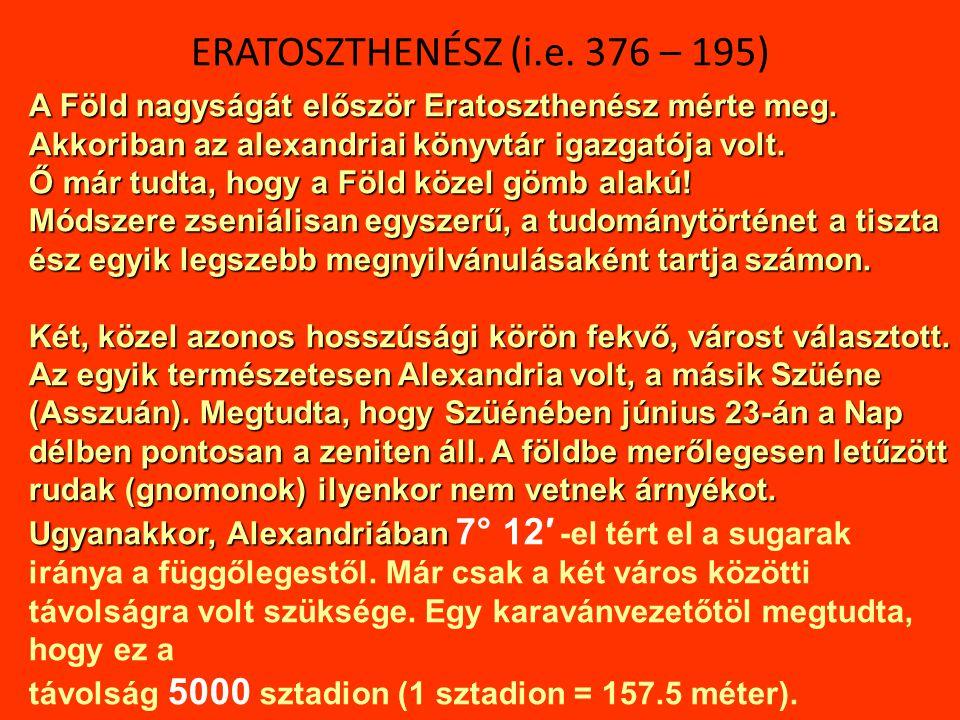 Alexandria: 31° 12′ 48.60″ ÉSzé 29° 56′ 39.48″ KHo Szüéne, Syene, Aswan, Asszuán: 24° 04′ 54.48″ ÉSzé 32° 54′ 38.88″ KHo A két szélességi kör között 7° 8′ különbség van.