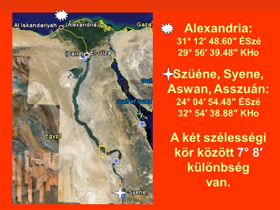 Alexandria: 31° 12′ 48.60″ ÉSzé 29° 56′ 39.48″ KHo Szüéne, Syene, Aswan, Asszuán: 24° 04′ 54.48″ ÉSzé 32° 54′ 38.88″ KHo A két szélességi kör között 7