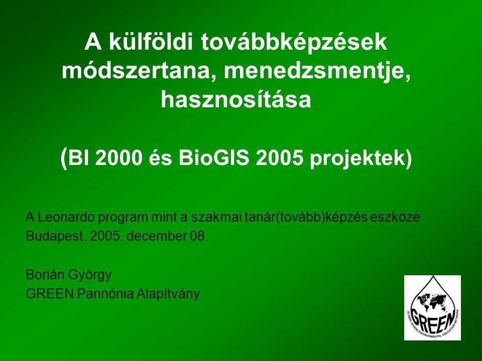 A külföldi továbbképzések módszertana, menedzsmentje, hasznosítása ( BI 2000 és BioGIS 2005 projektek) A Leonardo program mint a szakmai tanár(tovább)képzés eszköze Budapest, 2005.