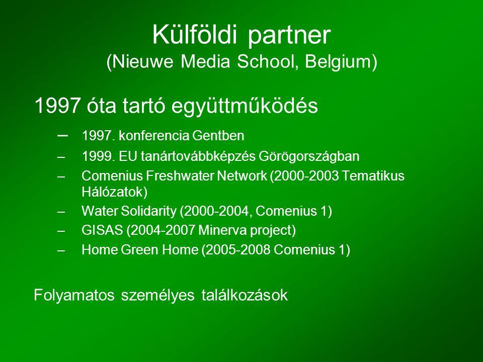 Külföldi partner (Nieuwe Media School, Belgium) 1997 óta tartó együttműködés – 1997.