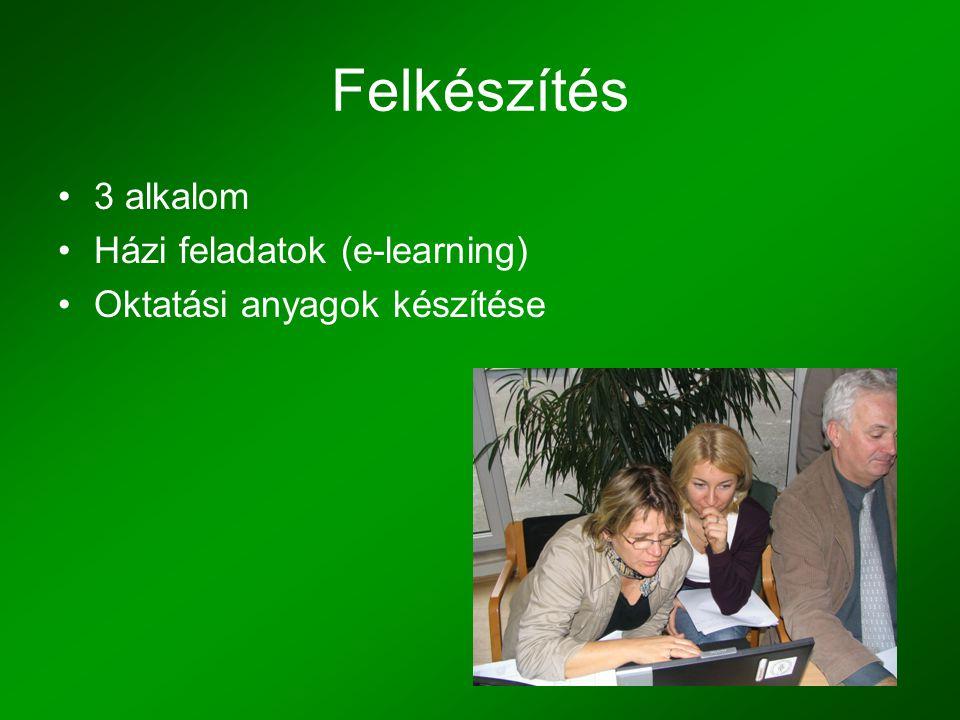Felkészítés •3 alkalom •Házi feladatok (e-learning) •Oktatási anyagok készítése