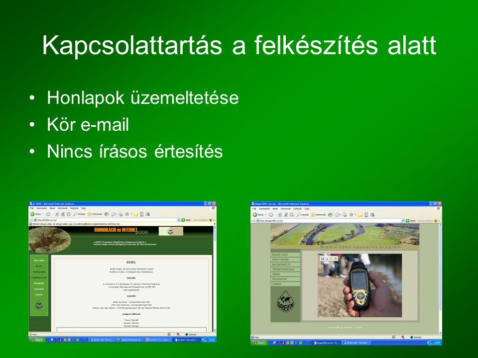 Kapcsolattartás a felkészítés alatt •Honlapok üzemeltetése •Kör e-mail •Nincs írásos értesítés