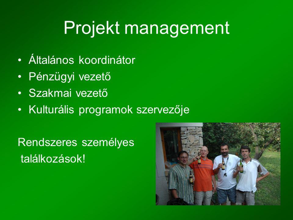 Projekt management •Általános koordinátor •Pénzügyi vezető •Szakmai vezető •Kulturális programok szervezője Rendszeres személyes találkozások!