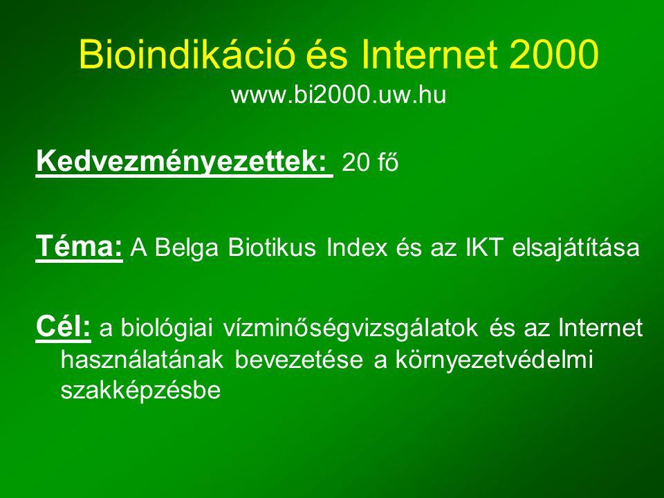Bioindikáció és Internet 2000 www.bi2000.uw.hu Kedvezményezettek: 20 fő Téma: A Belga Biotikus Index és az IKT elsajátítása Cél: a biológiai vízminőségvizsgálatok és az Internet használatának bevezetése a környezetvédelmi szakképzésbe