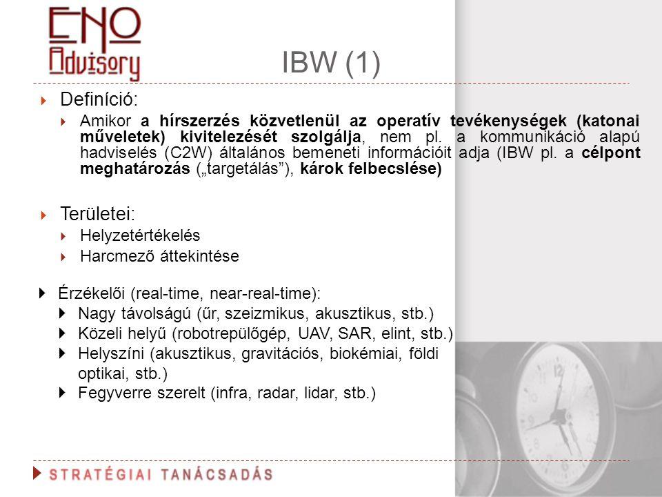 IBW (1)  Definíció:  Amikor a hírszerzés közvetlenül az operatív tevékenységek (katonai műveletek) kivitelezését szolgálja, nem pl. a kommunikáció a