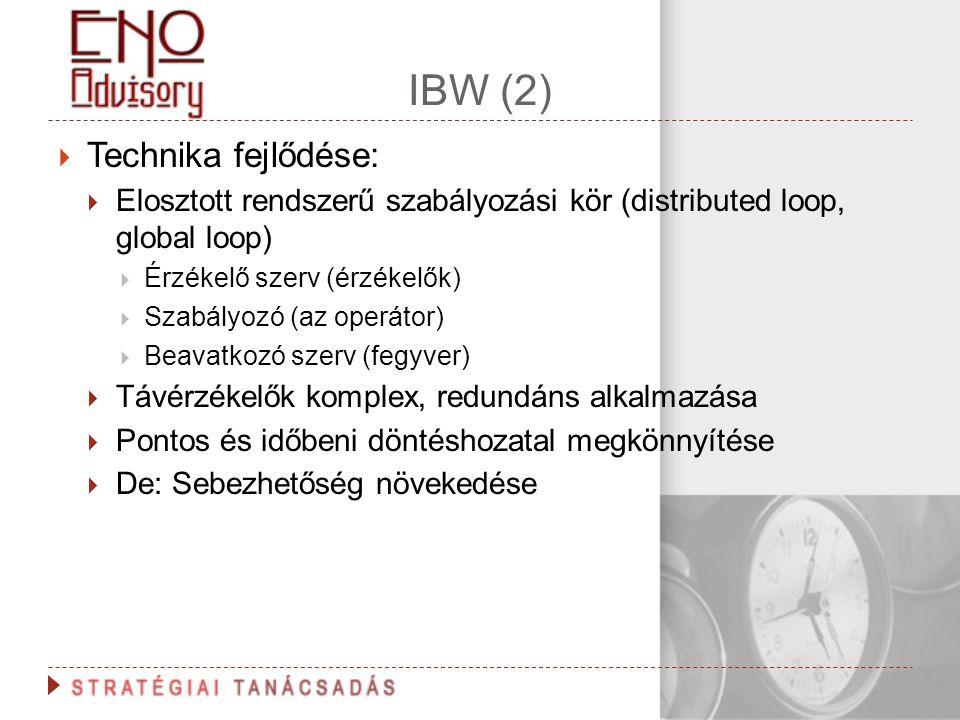 IBW (2)  Technika fejlődése:  Elosztott rendszerű szabályozási kör (distributed loop, global loop)  Érzékelő szerv (érzékelők)  Szabályozó (az ope