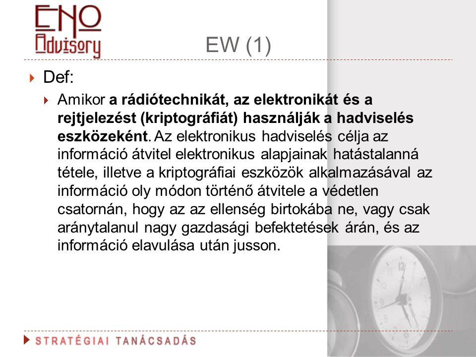 EW (1)  Def:  Amikor a rádiótechnikát, az elektronikát és a rejtjelezést (kriptográfiát) használják a hadviselés eszközeként. Az elektronikus hadvis