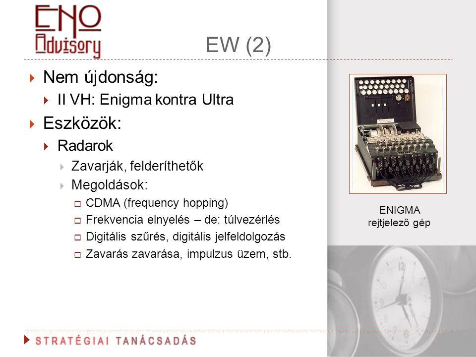 EW (2)  Nem újdonság:  II VH: Enigma kontra Ultra  Eszközök:  Radarok  Zavarják, felderíthetők  Megoldások:  CDMA (frequency hopping)  Frekven