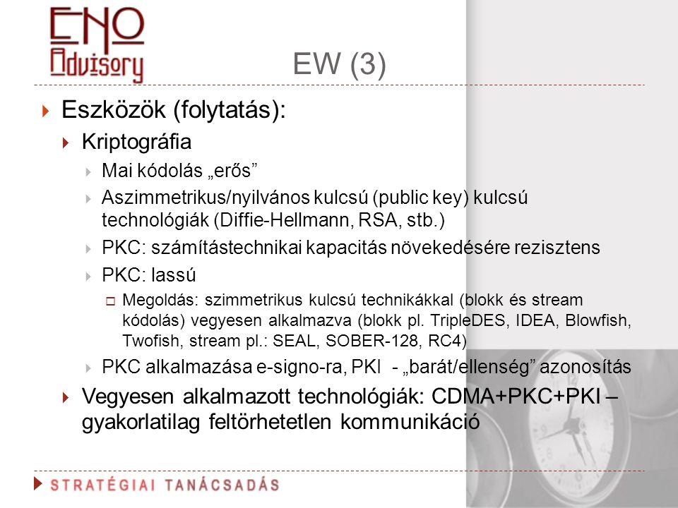"""EW (3)  Eszközök (folytatás):  Kriptográfia  Mai kódolás """"erős""""  Aszimmetrikus/nyilvános kulcsú (public key) kulcsú technológiák (Diffie-Hellmann,"""