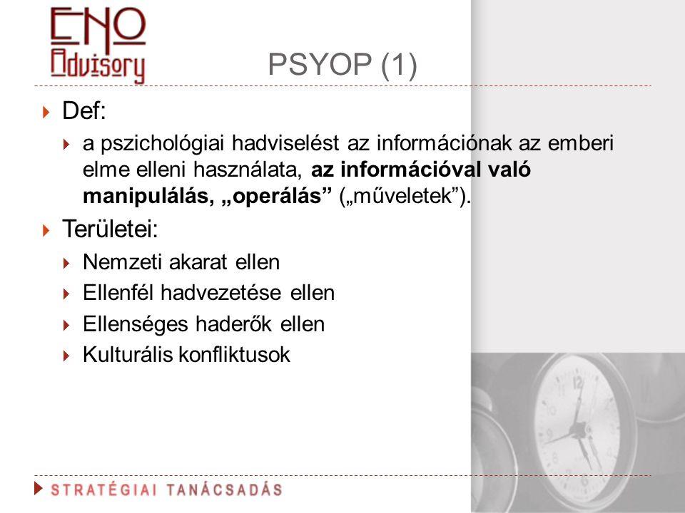 """PSYOP (1)  Def:  a pszichológiai hadviselést az információnak az emberi elme elleni használata, az információval való manipulálás, """"operálás"""" (""""műve"""