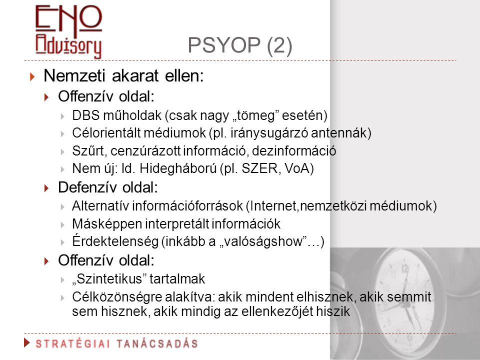 """PSYOP (2)  Nemzeti akarat ellen:  Offenzív oldal:  DBS műholdak (csak nagy """"tömeg"""" esetén)  Célorientált médiumok (pl. iránysugárzó antennák)  Sz"""