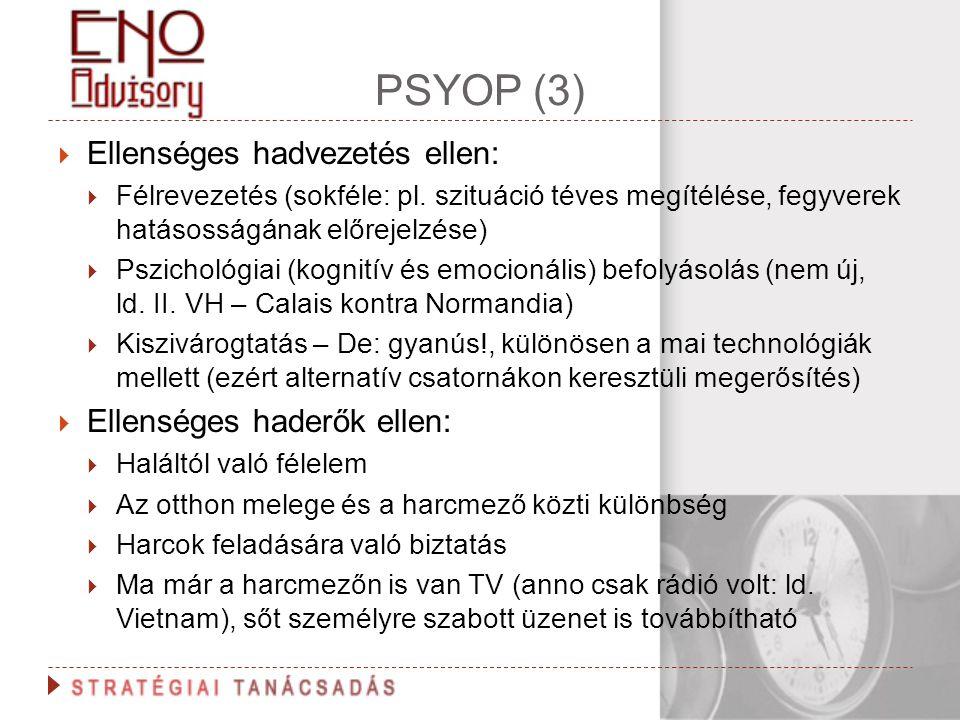 PSYOP (3)  Ellenséges hadvezetés ellen:  Félrevezetés (sokféle: pl. szituáció téves megítélése, fegyverek hatásosságának előrejelzése)  Pszichológi