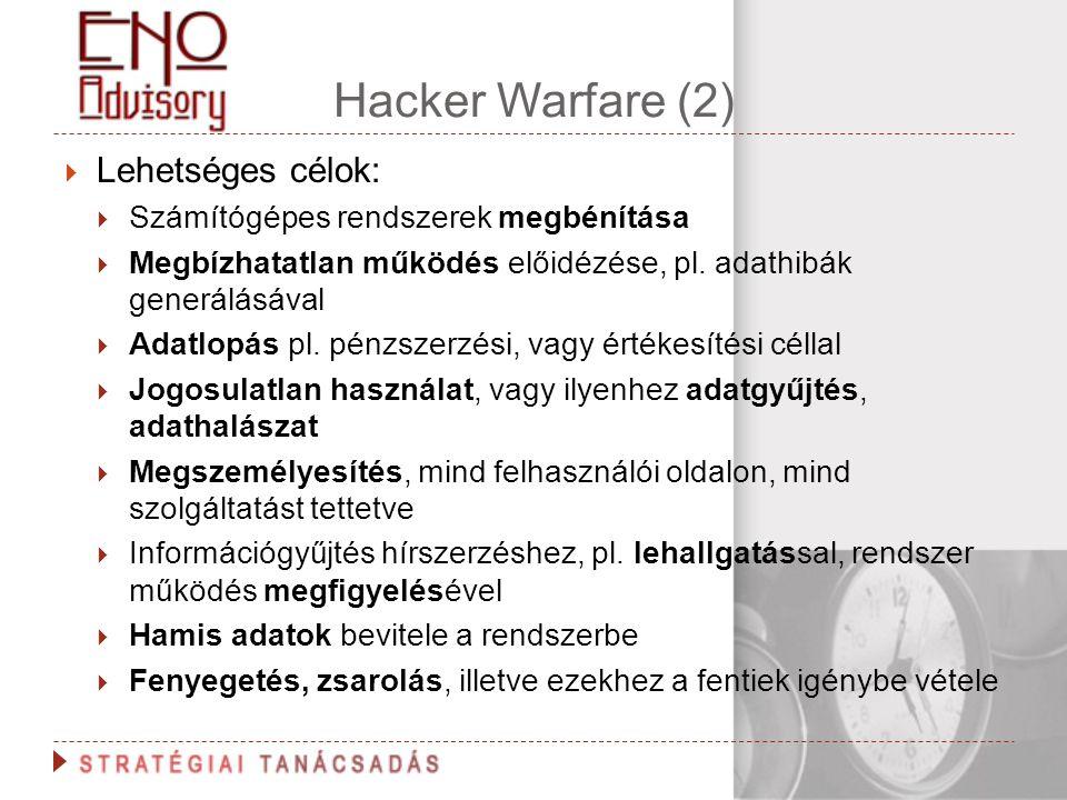 Hacker Warfare (2)  Lehetséges célok:  Számítógépes rendszerek megbénítása  Megbízhatatlan működés előidézése, pl. adathibák generálásával  Adatlo