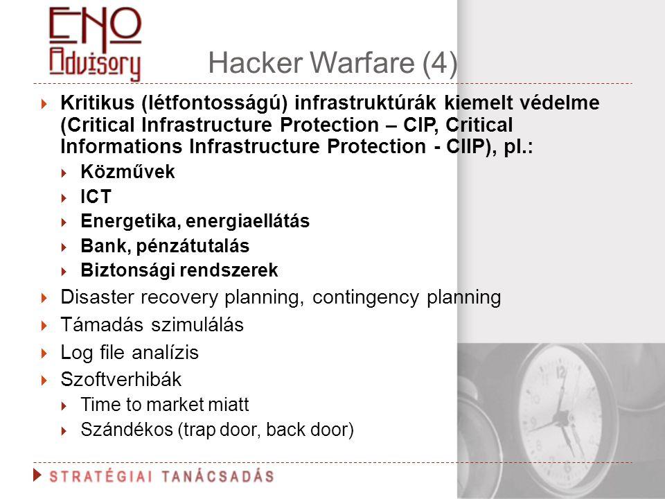 Hacker Warfare (4)  Kritikus (létfontosságú) infrastruktúrák kiemelt védelme (Critical Infrastructure Protection – CIP, Critical Informations Infrast