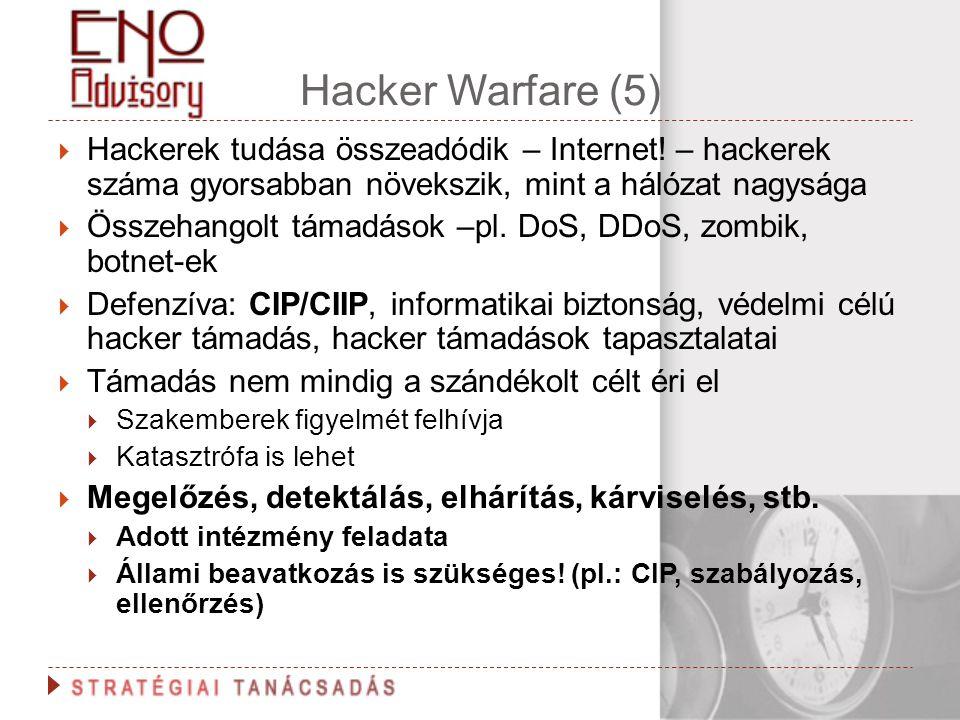 Hacker Warfare (5)  Hackerek tudása összeadódik – Internet! – hackerek száma gyorsabban növekszik, mint a hálózat nagysága  Összehangolt támadások –