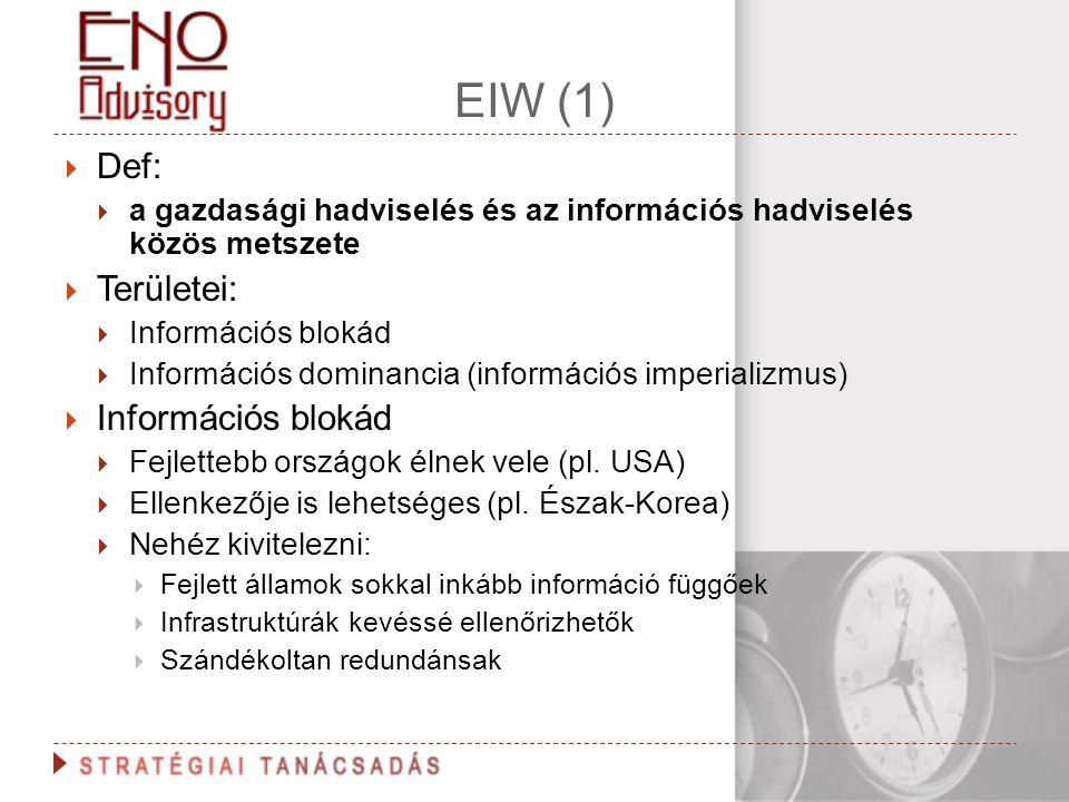 EIW (1)  Def:  a gazdasági hadviselés és az információs hadviselés közös metszete  Területei:  Információs blokád  Információs dominancia (inform