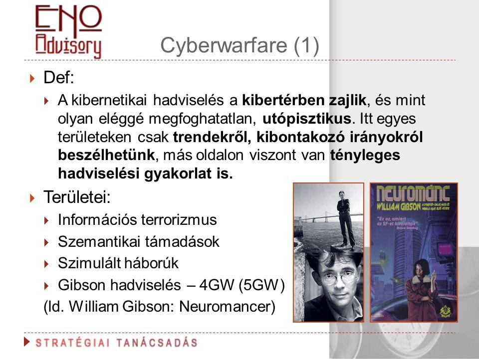 Cyberwarfare (1)  Def:  A kibernetikai hadviselés a kibertérben zajlik, és mint olyan eléggé megfoghatatlan, utópisztikus. Itt egyes területeken csa