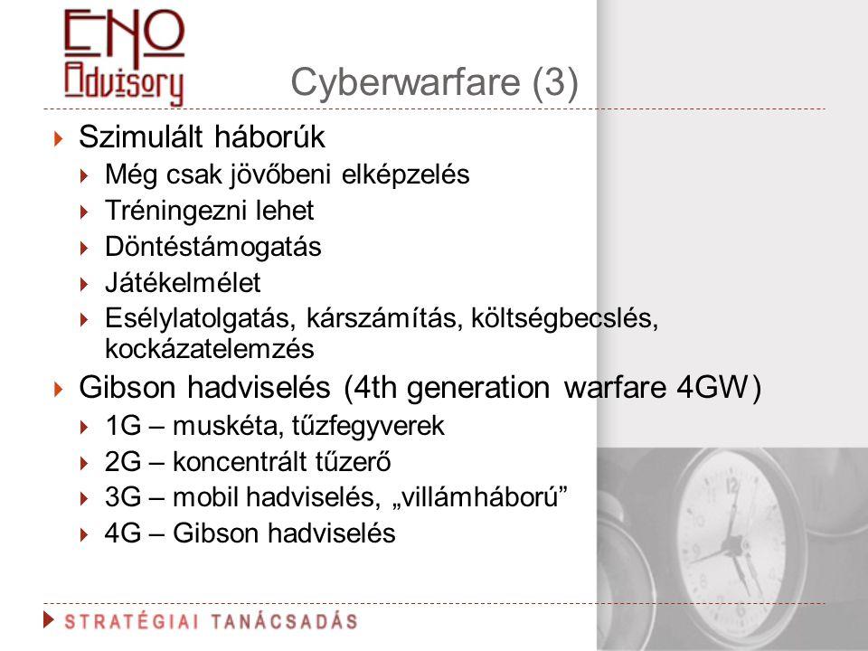 Cyberwarfare (3)  Szimulált háborúk  Még csak jövőbeni elképzelés  Tréningezni lehet  Döntéstámogatás  Játékelmélet  Esélylatolgatás, kárszámítá