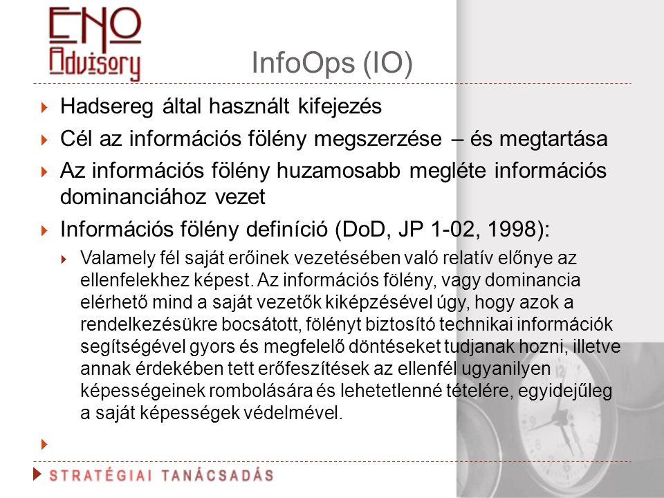 InfoOps (IO)  Hadsereg által használt kifejezés  Cél az információs fölény megszerzése – és megtartása  Az információs fölény huzamosabb megléte in