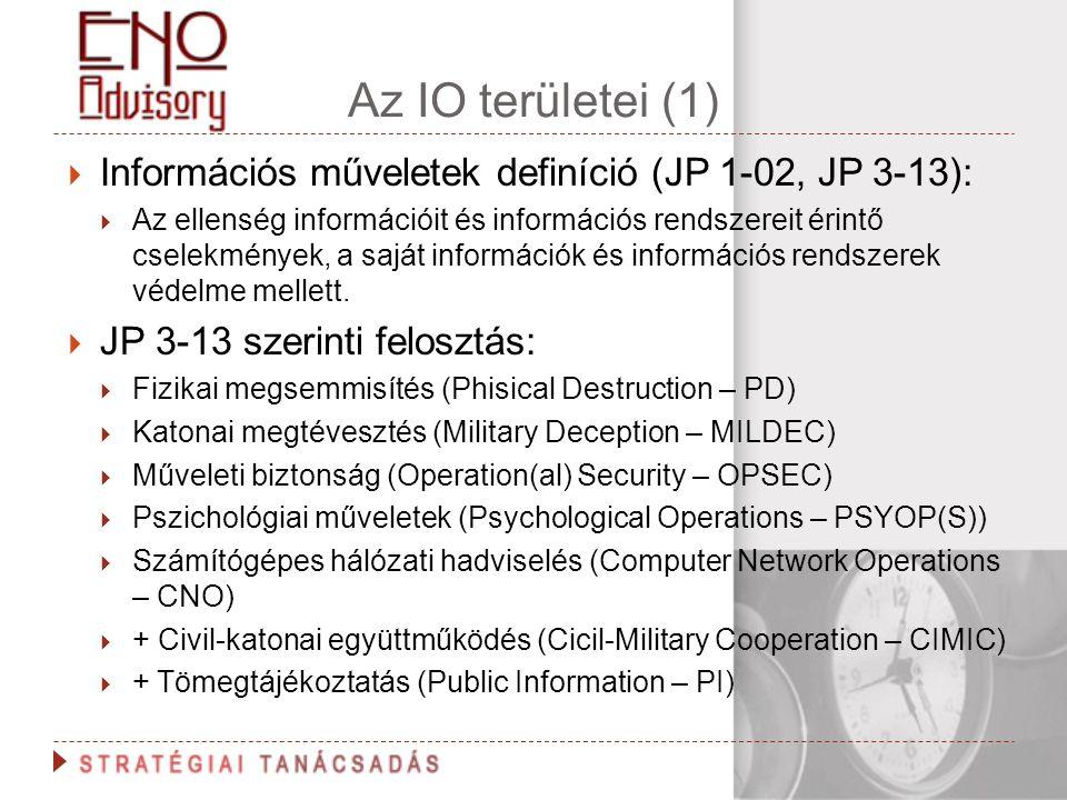 Az IO területei (1)  Információs műveletek definíció (JP 1-02, JP 3-13):  Az ellenség információit és információs rendszereit érintő cselekmények, a