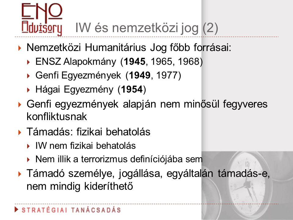 IW és nemzetközi jog (2)  Nemzetközi Humanitárius Jog főbb forrásai:  ENSZ Alapokmány (1945, 1965, 1968)  Genfi Egyezmények (1949, 1977)  Hágai Eg