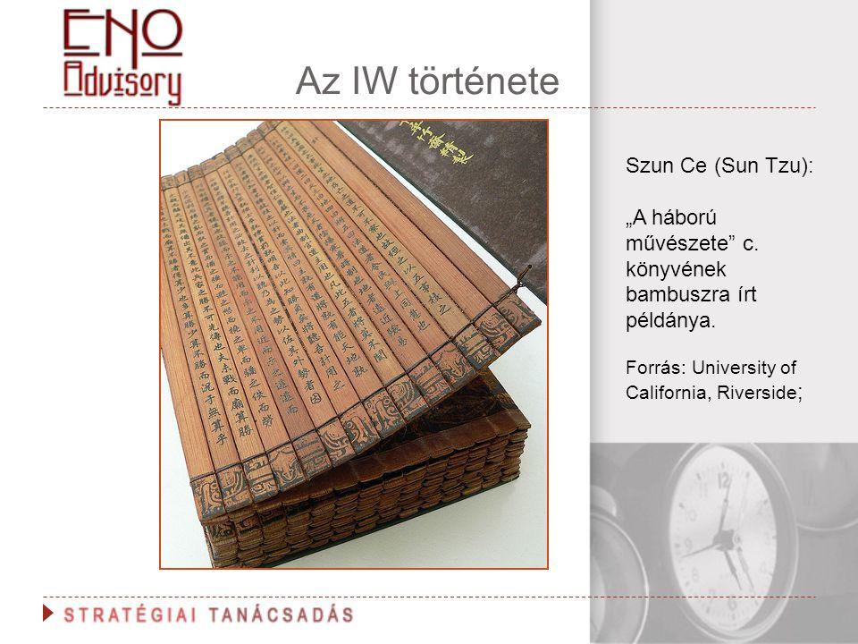 """Az IW története Szun Ce (Sun Tzu): """"A háború művészete"""" c. könyvének bambuszra írt példánya. Forrás: University of California, Riverside ;"""